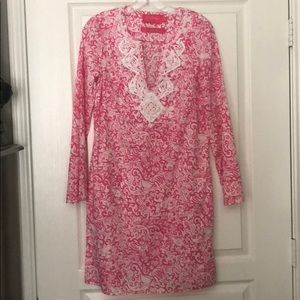 Pink and White Lilly Pulitzer Tunic Coverup Dress